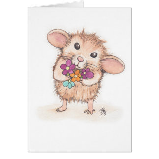 Mouse with Flower Bouquet Happy Birthday Card