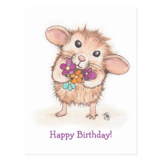 Mouse with Flower Bouquet Happy Birthday Postcard