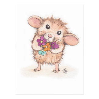 Mouse with Flower Bouquet Postcard