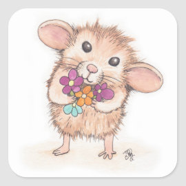 Mouse with Flower Bouquet Square Sticker