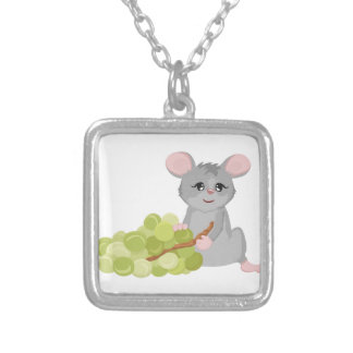 Mouse with grape silver plated necklace