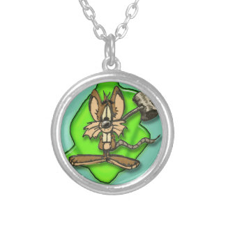 Mouse with Hammer Round Pendant Necklace