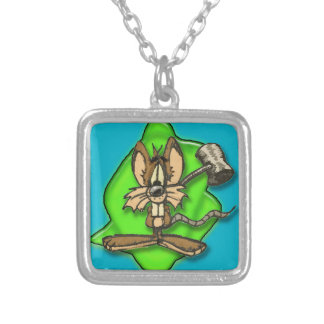 Mouse with Hammer Square Pendant Necklace