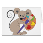 mouse with paint-artist greeting card