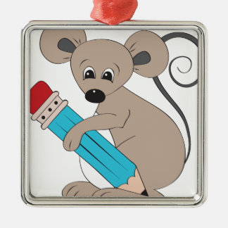 mouse with pencil metal ornament