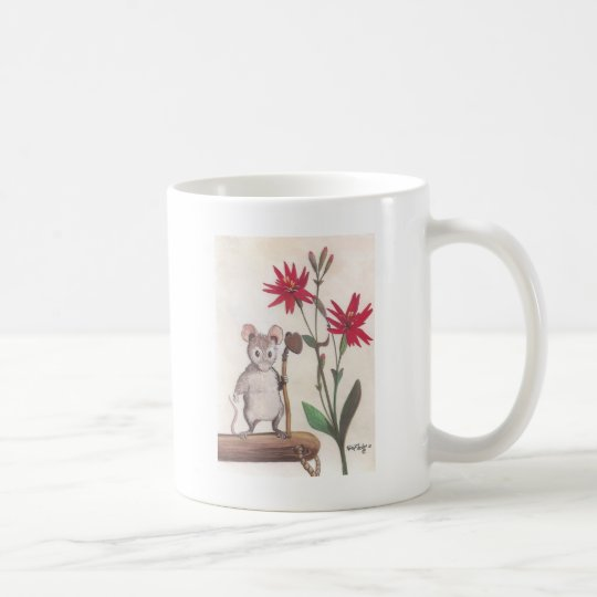 mouse with red flowers coffee mug