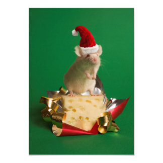 Mouse with Santa's hat with cheese Card