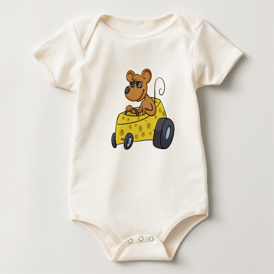 Mouse with sunglasses driving car baby bodysuit - Adorable Baby Bodysuit Designs