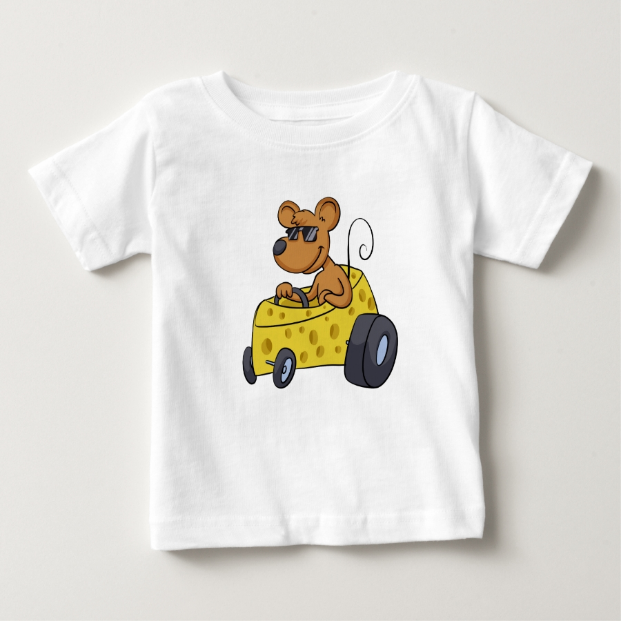 Mouse with sunglasses driving car baby T-Shirt - Soft And Comfortable Baby Fashion Shirt Designs