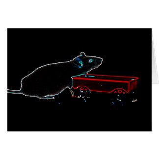 mouse with wagon dark outlines cute animal greeting card