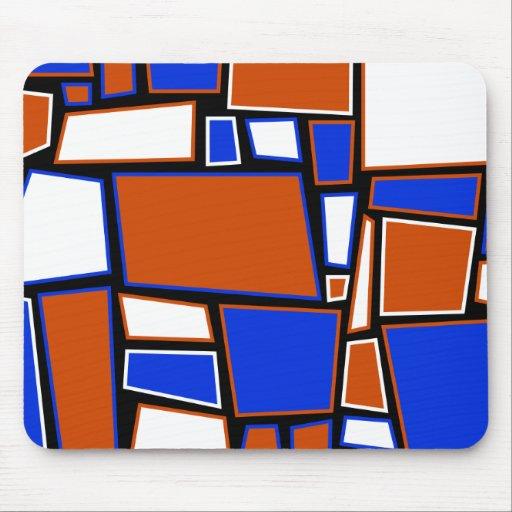 Mousemat, cuadrados abstractos, rojo, blanco y azu tapete de ratones