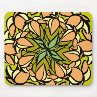 Mousemat, Droopy Floral Design, Peach, Yellow Mouse Pad