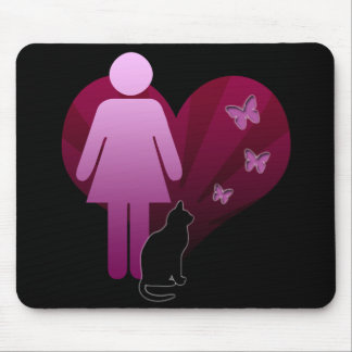 Mousemat Girl and Her Kitty Cat, Love Butterflies Mouse Pad