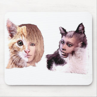 mousemat with cat people design mouse pad