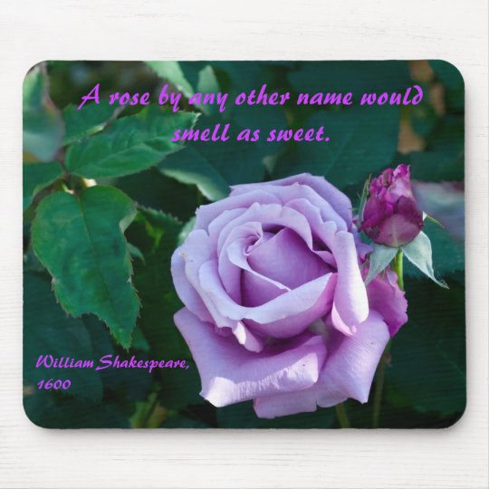 Mousemat with Mauve Rose & Shakespearean Quote #2 Mouse Pad