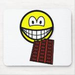 Chocolate eating smile   mousepad