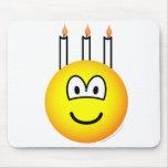 Birthday cake emoticon Three candles  mousepad