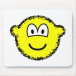 Fuzzy buddy icon or buddy icon after accidentally falling into the washing-machine  mousepad