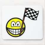 Checkered flag smile   mousepad
