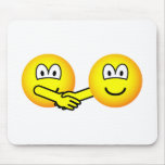 Hands shaking emoticons   mousepad