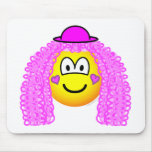 Curly pink hair clown emoticon   mousepad