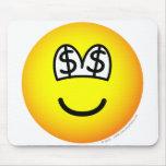 Dollar eyed emoticon   mousepad