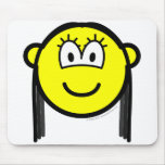 Black haired buddy icon   mousepad