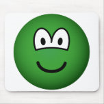 Colored emoticon green  mousepad