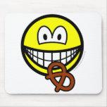 Pretzel eating smile   mousepad