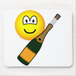 Champagne bottle emoticon Opening  mousepad