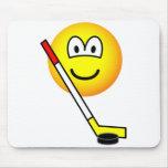 Ice hockey emoticon puck  mousepad