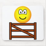 Sitting on the fence emoticon   mousepad