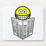 Newspaper reading smile   mousepad