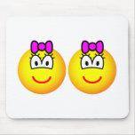 Identical twins emoticon Girls  mousepad