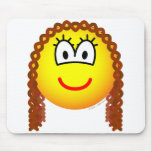 Curly hair emoticon   mousepad