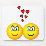 Two Emoticons in love   mousepad