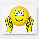 Fingers crossed emoticon   mousepad