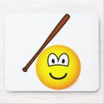 Baseballing emoticon baseball bat  mousepad