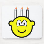 Birthday cake buddy icon Three candles  mousepad