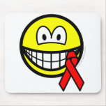 Aids awareness smile Red ribbon  mousepad