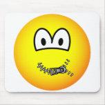 Zipped up emoticon   mousepad