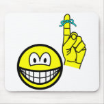 Reminder smile string around finger  mousepad