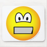 Duct taped mouth emoticon   mousepad