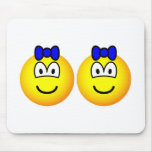 Identical twin emoticon Boys  mousepad