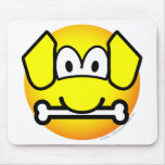 Dog with bone emoticon   mousepad