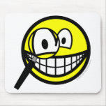Magnifying glass smile Looking through  mousepad