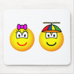 Brother and sister emoticon   mousepad