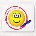 Circled emoticon Marked  mousepad