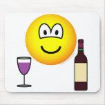 Wine drinking emoticon   mousepad