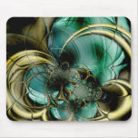 Mousepad Abstract Art Metal Gold Teal Glass